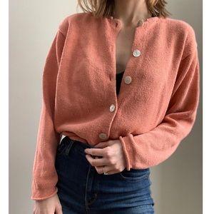 Vintage L.L. Bean boxy peach button down sweater